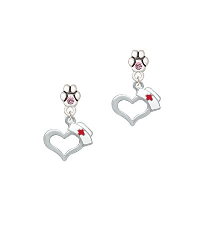 Open Heart with Nurse Hat - Pink Crystal Paw Earrings - Ep Womens Ring