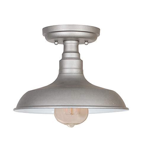 Mount 1 Flush Semi Light (Design House 519876 Kimball 1 Light Semi Flush Mount Ceiling Light, Galvanized Steel Finish)