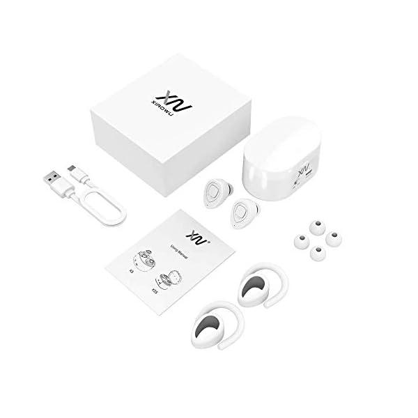 XIAOWU Cuffie Bluetooth Senza Fili 4.1 Auricolari Wireless Bluetooth Effetto Stereo con Microfono Incorporato e Base di Ricarica per iPhone 8, 7 Plus,