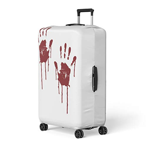 Pinbeam Luggage Cover Red Blood Bloody Scary Hands Handprint Abstract Creepy Travel Suitcase Cover Protector Baggage Case Fits 22-24 inches ()