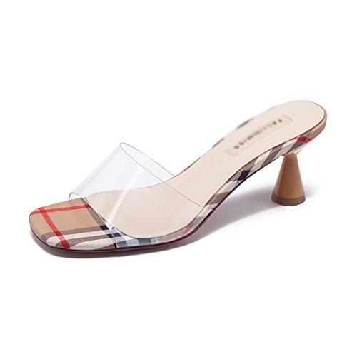 Perspectiva Albaricoque ZCJB Pies Alto Zapatillas Pantuflas Color De Exterior Zapatillas Mujer Sandalias Rojo 39 Tamaño Mujer Tacón Moda dTpqzwTI