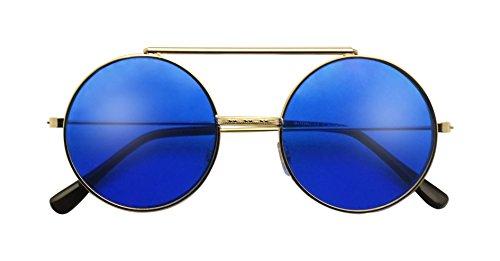 Round Colored Flip-Up Django Inspired Clear lens Sunglasses (Gold / Blue Lens, - Sunglasses Up Flip Lens