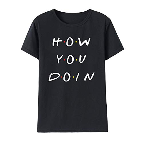 - Sunhusing Womens Simple Letters Print Solid Color Round Neck Short Sleeve T-Shirt Casual Joker Shirt Black