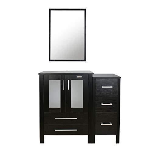 "eclife 36"" Black Bathroom Vanity W/Black Side Cabinet Combo Modern Pedestal Cabinet Set Pedestal Stand Wood with Bathroom Vanity Mirror Drawers Soft Closing Cabinet Doors Set (B02B11)"