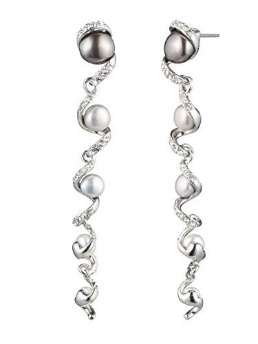 Carolee Women's Pearl Linear Shoulder Duster Earring (Silver/Gray)
