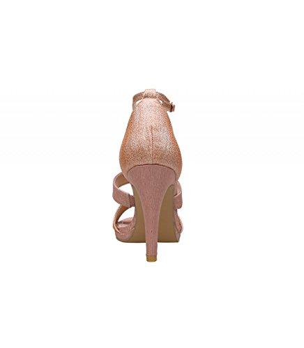 el cm del tobillo el en 5 mediante Altura tacón pulsera Detalle Cierre tacón de en la Champagne multitiras en hebilla color Sandalia empeine champagne alto 9 wUSTR8fRnq