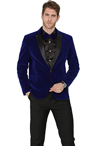 MAGE MALE Men's 2-Piece Suit Velvet Blazer Party Tuxedo Slim Fit One Button Stylish Dinner Jacket & Pants & Bow Tie (Blue 1, X-Small)