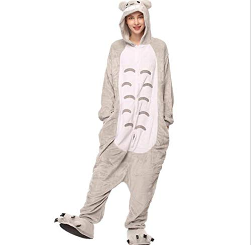 (Miss Fairy Adult Animal Pajamas Plush One Piece Cosplay Costume Pajamas for Adults and Teens Totoro)