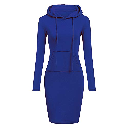 TOPUNDER Long Sleeve Patchwork Dress Casual Long Hooded Sweatershirt Dresses Women Blue