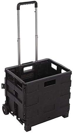 Carro Plegable Multiusos Caja Plegable con Ruedas, Negro, 38 x 83,5 x 30 cm: Amazon.es: Hogar