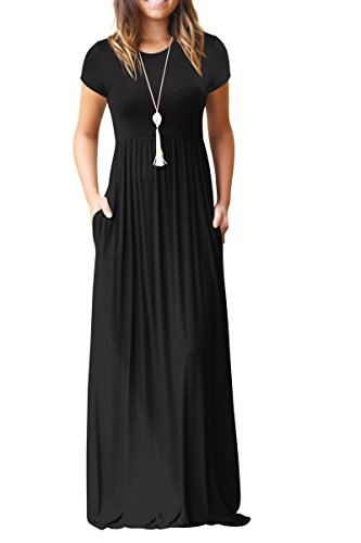 Jennyarn Women A-Line Swing Maxi Dresses Short Sleeve Loose Long Casual Dresses Medium Black (Black In Short Empire Dress Sleeve)