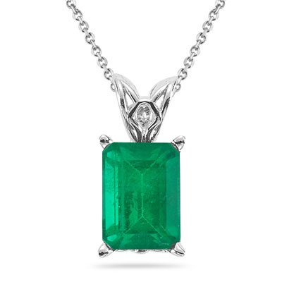 0.70-1.03 Cts of 7x5 mm AA Emerald Cut Natural Emerald Scroll Solitaire Pendant in 14K White Gold
