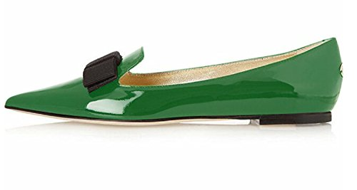 Eldof Women's Comfortable Bow Point Toe Flat Pumps Slip On Shoes Green US9