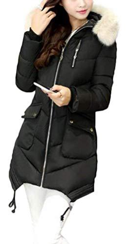 Confortables avec Automne Chic Femme Longues Quilting Doudoune Manteau Capuche Veste Fermeture Col Fourrure Blouson Printemps Fashion Mode Poches en A Fausse Casual wqHFZHBf