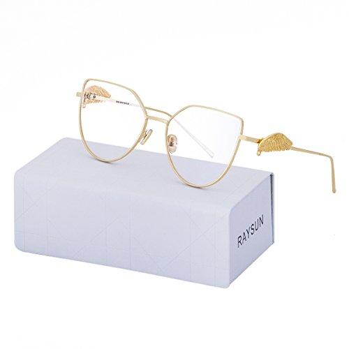 RAYSUN Women Cat Eye Gradient Sunglasses Transparent Metal Frame Flat Lenses UV 400 Stylish Fashion Trendy Glasses - Through Glasses Frames See