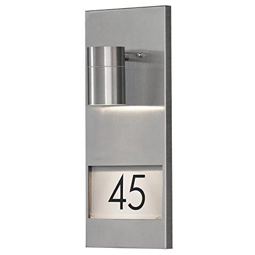 Konstsmide Modena 7655-000 Hausnummernleuchte / B: 16cm T: 11cm H: 41cm / 1x35W / IP44 / Edelstahl