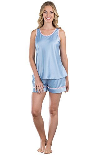 PajamaGram Women's Dreamy Satin Short Set with Tank Top, Blue, XLG (16) Xlg Satin
