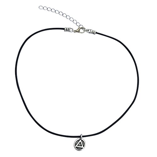 AA Sobriety Recovery Triangle Charm Necklace & Earrings, Silver Plated Black Leather Adjustable 16-18'' by DragonWeave (Image #1)