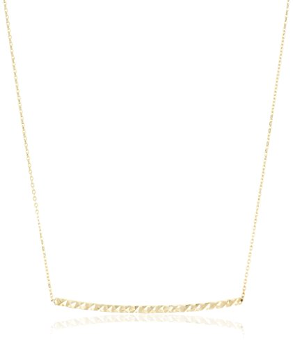 14k Yellow Gold Diamond-Cut Bar Rolo Adjustable Chain Necklace, 18