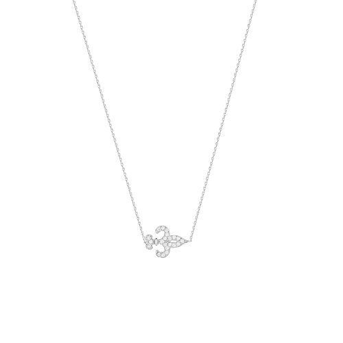 (DiamondJewelryNY Silver Pendant, E2W Adj.Mini Cz Fleur Di Lis NCK-D/C Cab)