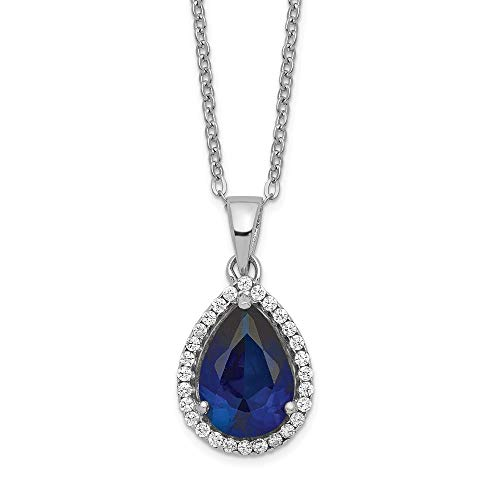 (925 Sterling Silver Created Sapphire Cubic Zirconia Cz Chain Necklace Set Pendant Charm Gemstone S Pear Birthstone Fine Jewelry Gifts For Women For Her)