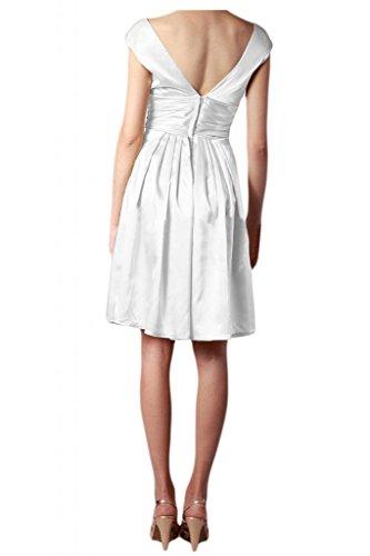 Toscana novia para mujer V-cuello de la ropa por la noche simplemente corto vestido de fiesta de cóctel de satén de la ropa blanco