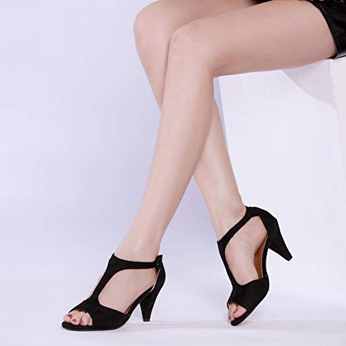 Picture of GATUXUS Women Open Toe Ankle T-Strap Kitten Heel Mary Jane Shoes Mid Heel Sandals for Party Prom (5 B(M) US, Black)