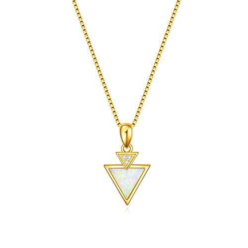 PEIMKO Geometric 14k Gold Plated Sterling Silver Double Triangle Opal Pendant Necklace, Dainty Gold Plated Necklaces for Women Girls Back to School Birthday Gifts ()