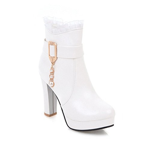 Heel Womens Lace White Jewels Boots Ankle High Electroplate ABL10633 Urethane BalaMasa PZdwxqfYnP