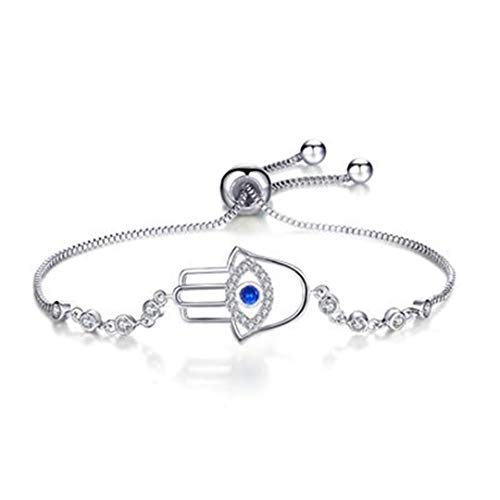 Adjustable Trendy Silver Plated Blue Crystal CZ Eyes Bracelets For Women Wedding Jewelry Charming Bracelet Bangles DLB80-SA