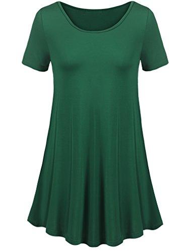 Uvog Women Basic Solid Flare Fit Comfy Loose Swing Flattering T-Shirt Tunic Tops (3XL, Dark Green)