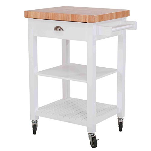 - SJ Collection 120306009-W Bedford Kitchen Cart, White