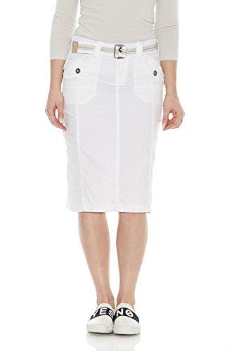 (Esteez Women's Knee Length Stretch Poplin Cargo Skirt Virginia White)