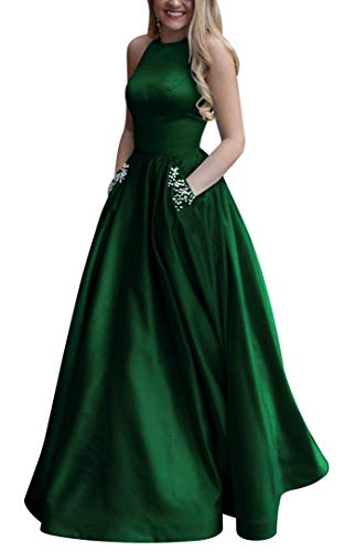 Women's Long Beaded Halter Satin Prom Dress A Line Open Back Evening Gowns with Pockets Green -