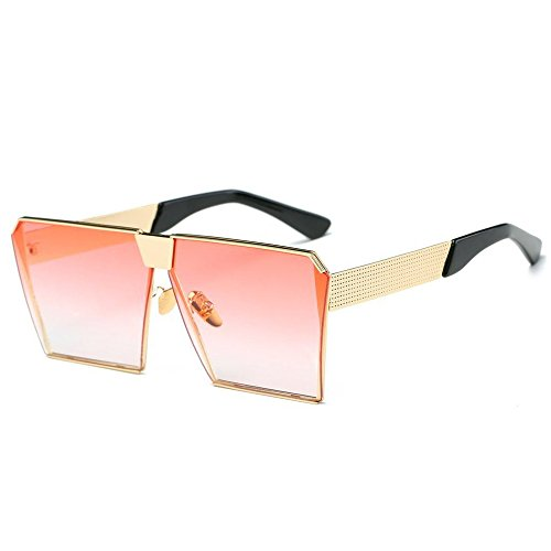For Frame Travelling Women gold Lens Glasses Metal Flat Lens Square Frame Oversized Mirror Climbing Protection Outdoor Fishing 400 Gradient for Fashion Party Anti Men Pink Sports UV Shopping Driving Unisex Sunglasses zqTHCwxWE