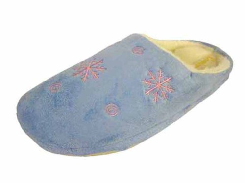 Coolers Womens Snowflake Design Microsuede Mule Slippers - Blue - 7-8 UK q3DBk8W