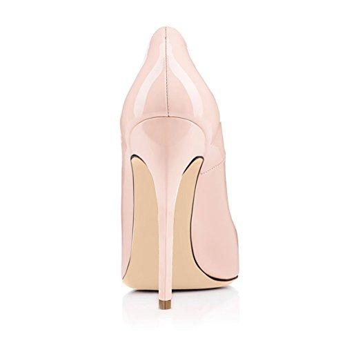 Arc-en-Ciel los zapatos de las mujeres de las bombas de ondas punta redonda de tacón alto Nude