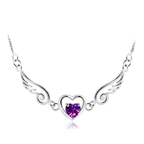Besde Womens Ladies Elegant Diamonds Angel Wing Heart Pendant Necklace Jewelry Choker Chain (silver)