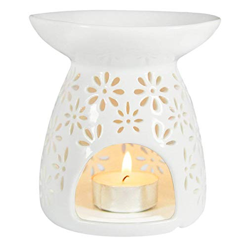 (HwaGui - Ceramic Tea Light Holder & Wax Warmer, Aromatherapy Essential Oil Burner, Great Decoration for Living Room, Balcony, Patio, Porch and Garden, Vase Shape)