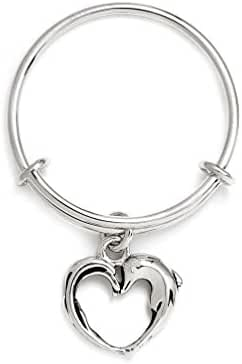 Charmed Aphrodite's Heart Expandable Stackable Ring, One-Size-Fits-All, Rhodium Silver Plated