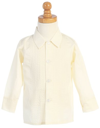 Boys Ivory Long Sleeved Child's Pleated Tuxedo Dress Shirt - 7 by Lito