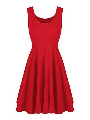 WILLBOND Sleeveless Flare Dress Scoop Neck A-line Flared Dress Summer Midi Flared Tank Dress (M Size, -
