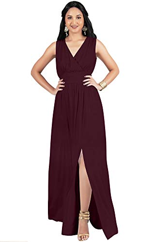 KOH KOH Plus Size Womens Long Bridesmaid Wedding Guest Cocktail Party Sexy Sleeveless Summer V-Neck Evening Slit Day Full Floor Length Gown Gowns Maxi Dress Dresses, Maroon Wine Red 2XL 18-20 ()