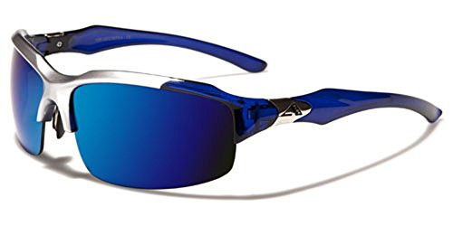 Arctic Blue Half Frame Men's Sport Sunglasses Blue Color Mirror Lens SILVER - Sunglasses Blue Arctic