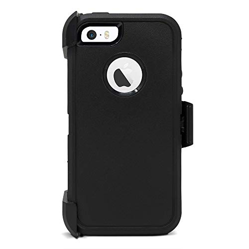 Speira Belt-Clip Kick-Stand Heavy Duty Holster Case [Built-in Screen Protector] Compatible with iPhone 5 / 5s / SE