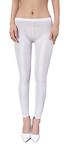 Zukzi Womens Sexy Lingerie See Through Leggings Sheer Leggings Multi-Colors, White, S/M (Pants Tight Sexy)