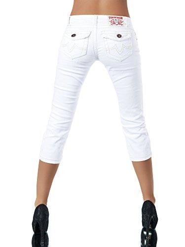 Bermuda Inconnu K900 Damen Capri Dicke Damenjeans Jeans Caprihose Caprijeans Wei Hose Naht 8Ofq861w