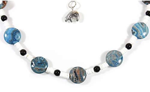 Style-ARThouse Fragile Planet, Crazy Lace Agate (dyed) Short Necklace, 17 Inches Adjustable