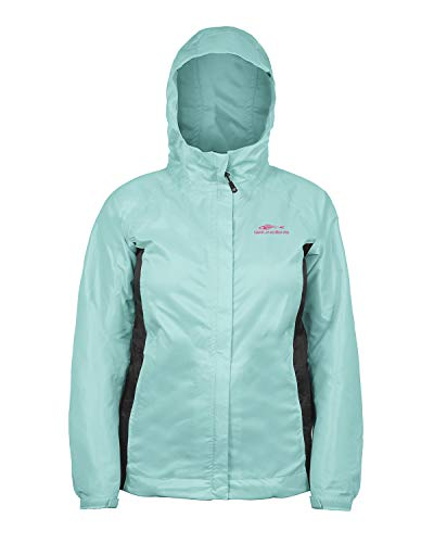 Grundéns Women's Weather Watch Hooded Fishing Jacket, Pool Blue/Black - X-Small