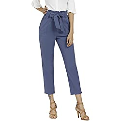 Aprance Pants for Women Casual Trouser Paper Bag Pants Elastic High Waist with Pockets CK_BLG_S Blue Gray